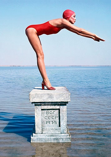Jerry Hall in USSR by Norman Parkinson